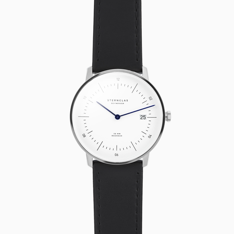 Sternglas NAOS Watch - White/Black Leather