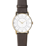 Squarestreet Watches - Plano Series (Gold/White/Dk Brown)