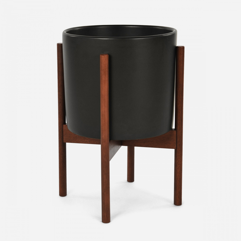 Case Study - Small Cylinder Black w/ Wood Stand