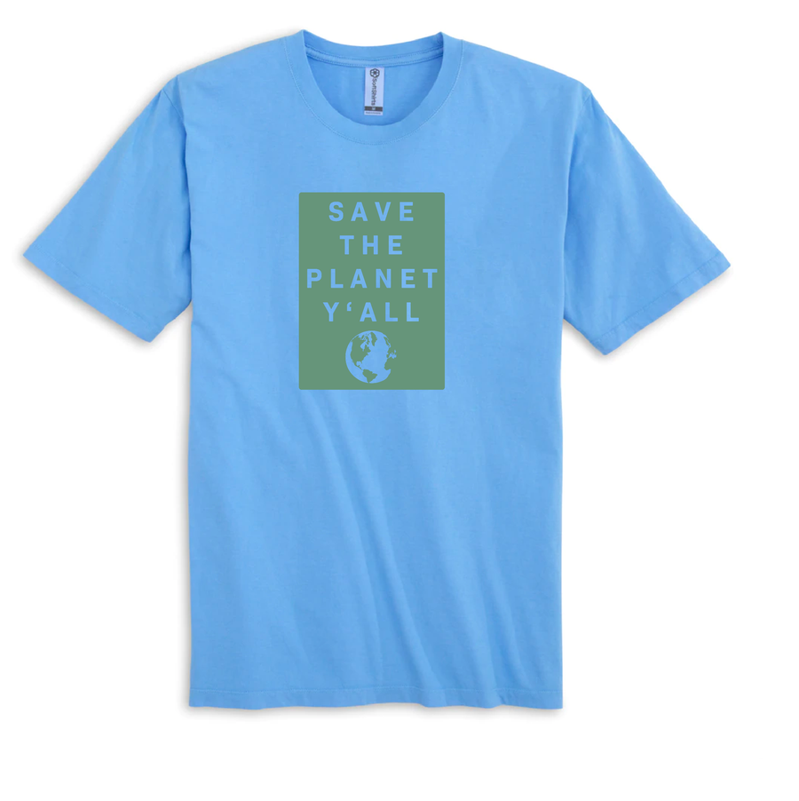 100% Organic Cotton Save the Planet Y'all T-Shirt | Baby Blue