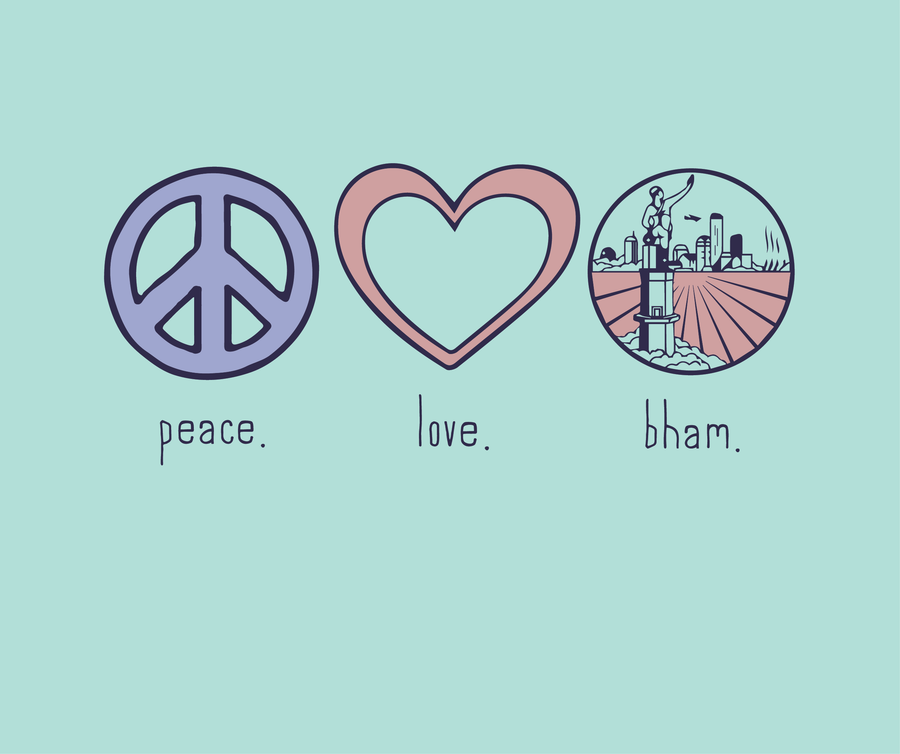 100% Organic Cotton Peace Love BHAM T-Shirt