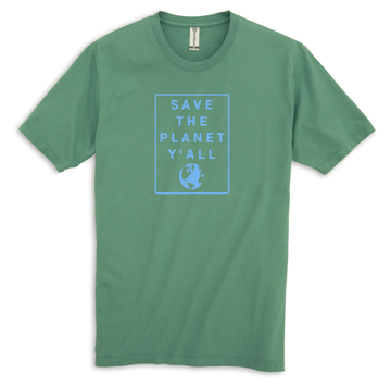 100% Organic Cotton Save the Planet Y'all T-Shirt | Earthy Green