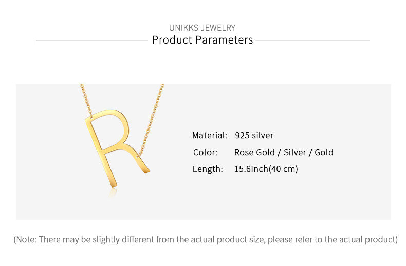 Custom Alphabet 925 Sterling Silver Personalized Handmade Necklace