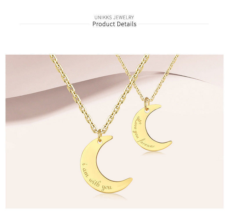 Custom Sculptural Moon-shape 925 Sterling Silver Personalized Couple Handmade Necklace