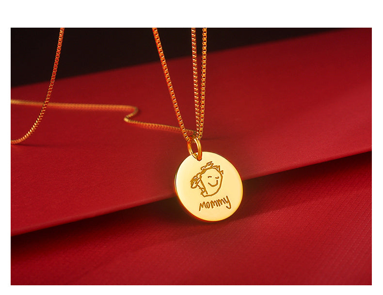 Custom Sculptural Hand Drawing 925 Sterling Silver Personalized Handmade Disc Necklace