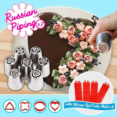 Beginner Bakery Set (4 pcs Silicon Cake Mold + 7pcs Russian Tulip Piping Zozzles)