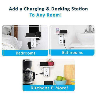 N'Pow Wall Mount Surge Protector - 6 Outlets with 2 USB Charging Ports