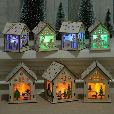 glowing Christmas DIY cabin