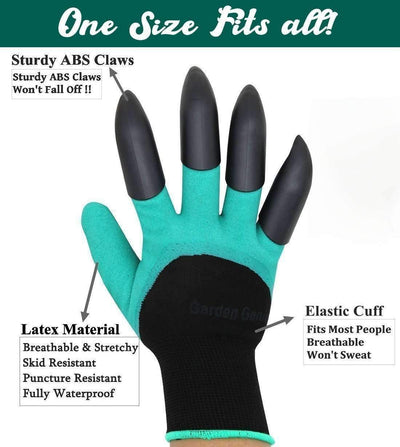 Garden Gloves with 4 Claws - 1 Pair