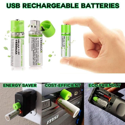 OXENERGY USB Rechargeable Eco-friendly AA Battery -  1.2V 1450mAh 2pcs