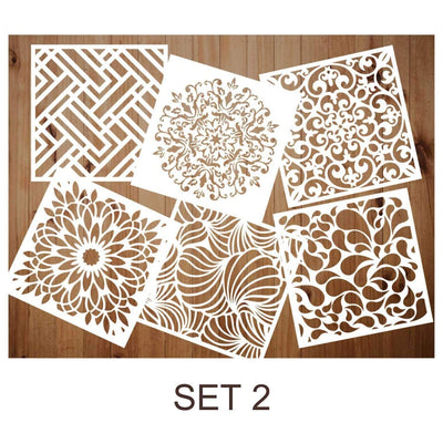 6 Pack Premium Quality Reusable Stencils(Buy 2 Free shipping)