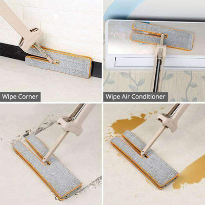 Self-Wringing Double Sided Flat Mop Cleaning Tool