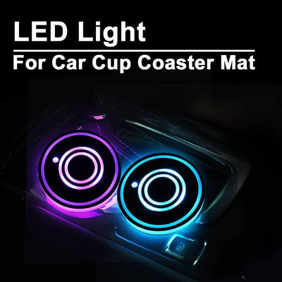 Universal LED Car Cup Holder Mat - 2pcs