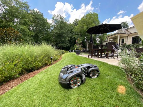 Automower robot lawn mower on a slope