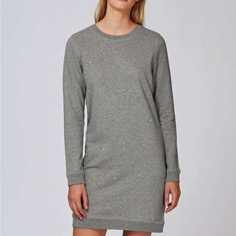 Polka Fluoro Heather Gray Crew Neck Dress
