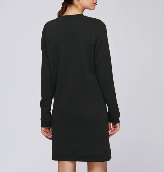 Polka Black Crew Neck Dress