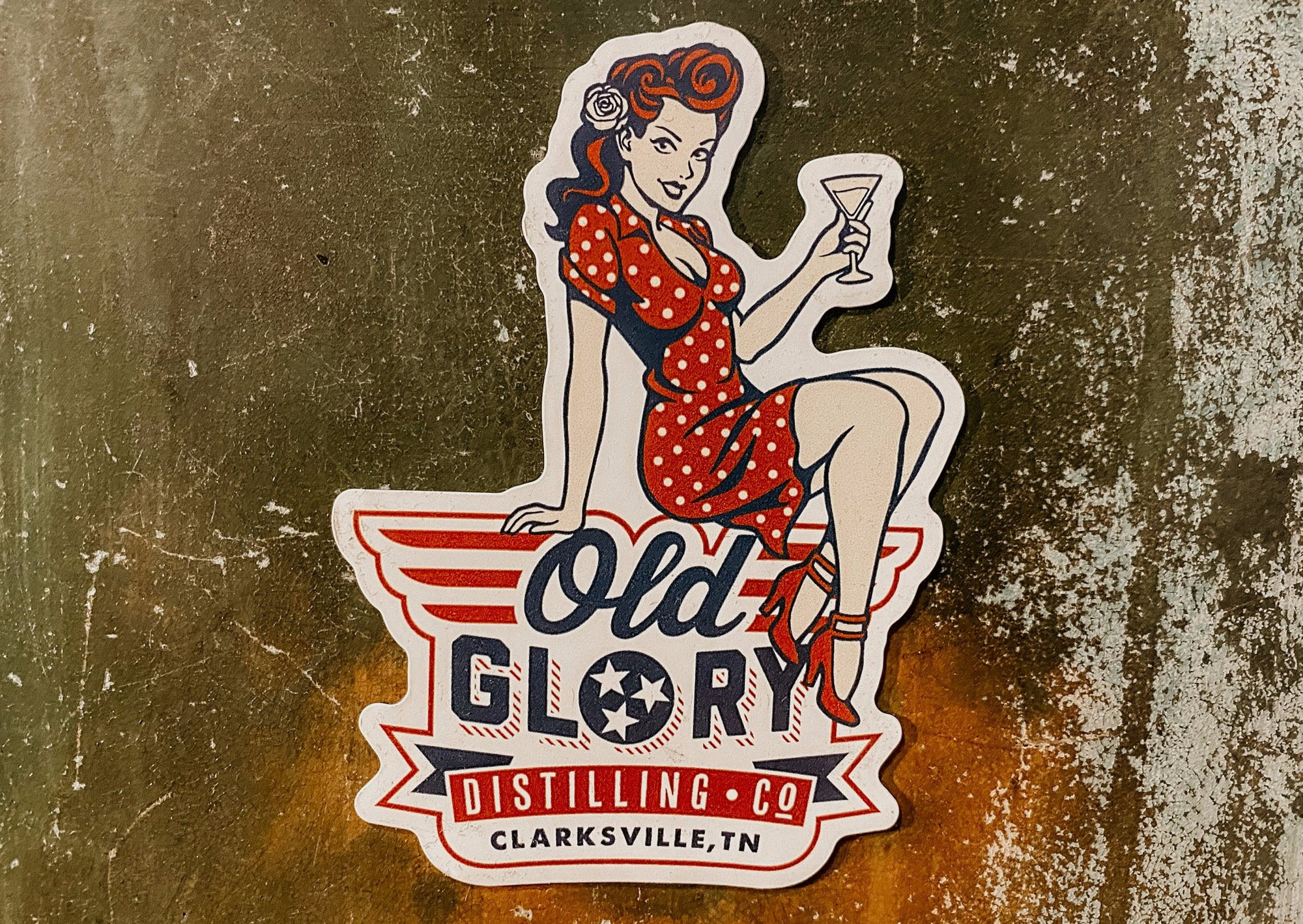 Old Glory Pin-Up Gin Magnet