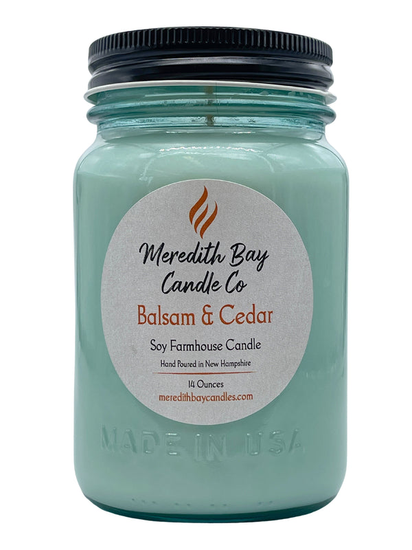 Balsam and Cedar Soy Candle Soy Candle Meredith Bay Candle Co 16 Oz Jar