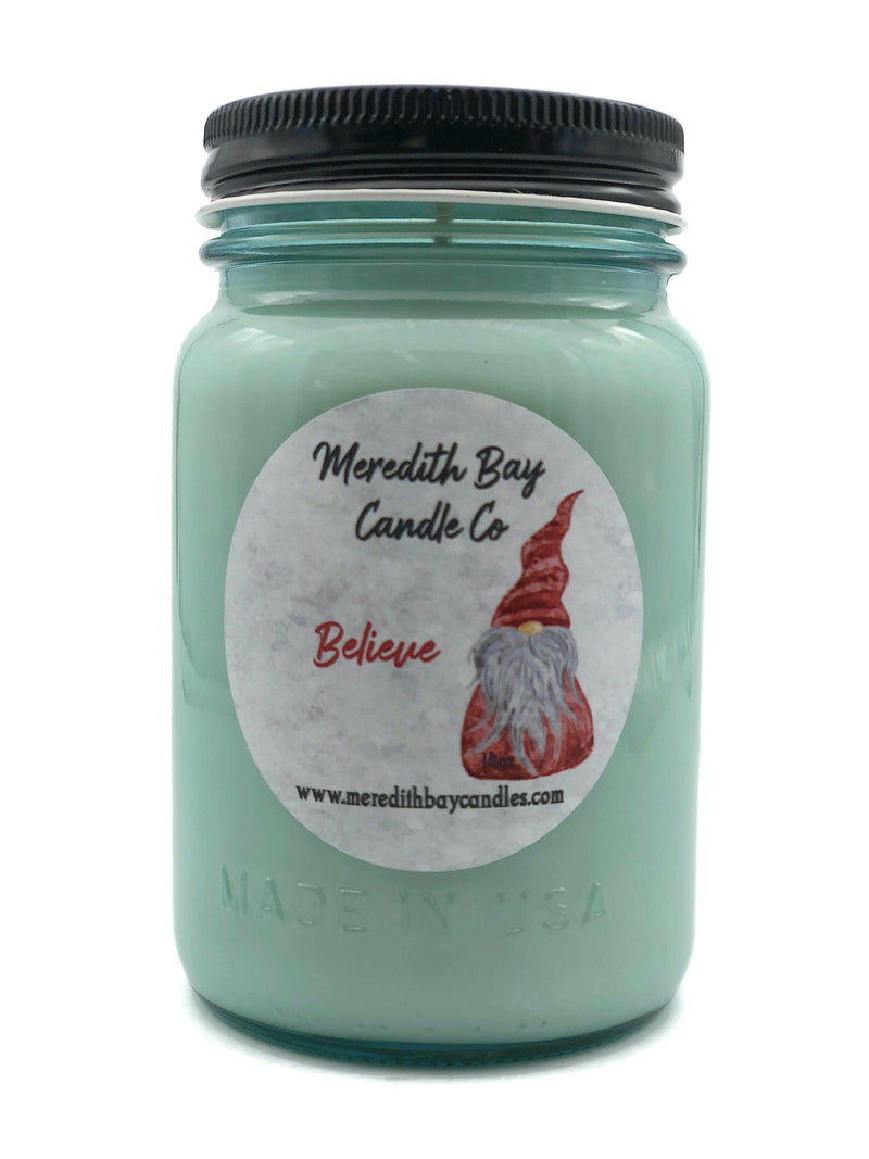 Believe Soy Candle Soy Candle Meredith Bay Candle Co 16 Oz Jar