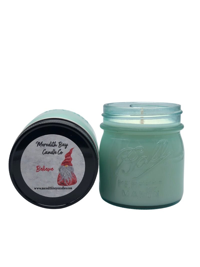 Believe Soy Candle Soy Candle Meredith Bay Candle Co 8.0 Oz Jar