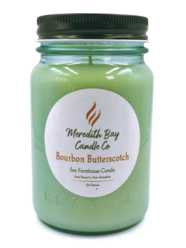 Bourbon Butterscotch Soy Candle Soy Candle Meredith Bay Candle Co 16 Oz Jar