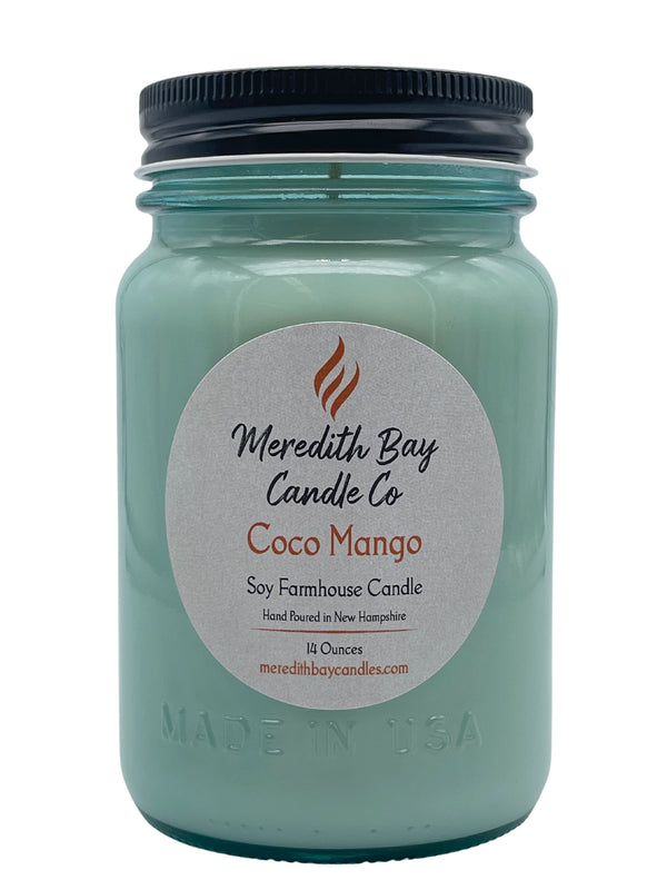 Coco Mango Soy Candle Soy Candle Meredith Bay Candle Co 16 Oz Jar