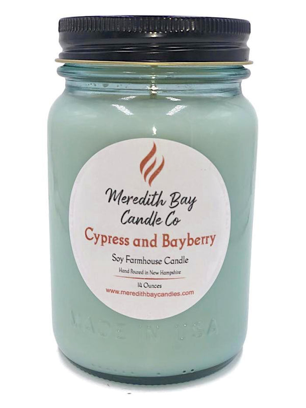 Cypress and Bayberry Soy Candle Soy Candle Meredith Bay Candle Co 16 Oz Jar