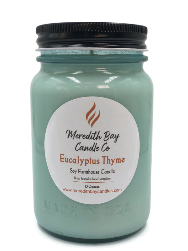 Eucalyptus Thyme Soy Candle Soy Candle Meredith Bay Candle Co 16 Oz Jar