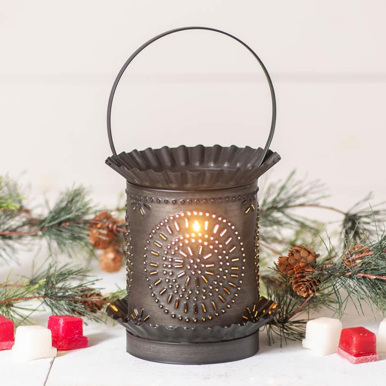 Jumbo Wax Warmer with Chisel in Kettle Black Punched Tin Wax Warmer Irvins Tinware