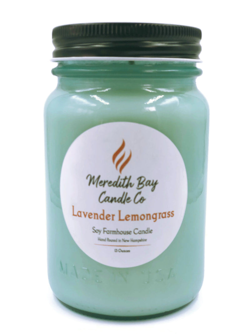 Lavender Lemongrass Soy Candle Soy Candle Meredith Bay Candle Co 16 Oz Jar