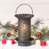 Mini Wax Warmer with Chisel in Kettle Black Punched Tin Wax Warmer Irvins Tinware