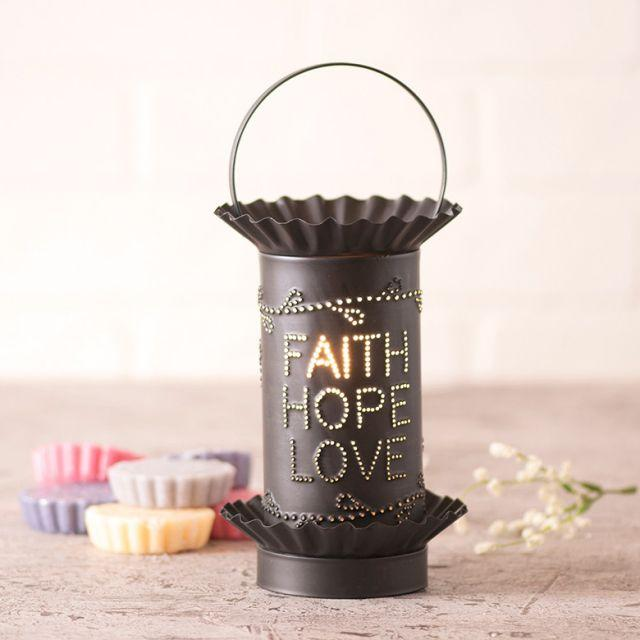 Mini Wax Warmer with Faith Hope Love in Kettle Black Wax Warmer Irvins Tinware