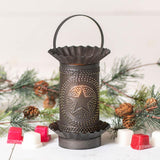 Mini Wax Warmer with Regular Star in Kettle Black Punched Tin Wax Warmer Irvins Tinware