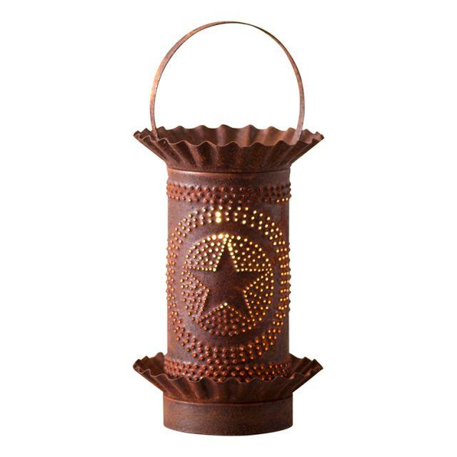 Mini Wax Warmer with Regular Star in Rustic Punched Tin Wax Warmer Irvins Tinware