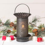 Mini Wax Warmer with Star Oval Design in Kettle Black Punched Tin Wax Warmer Irvins Tinware