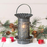 Mini Wax Warmer with Vertical Faith Hope Love in Country Tin Wax Warmer Irvins Tinware