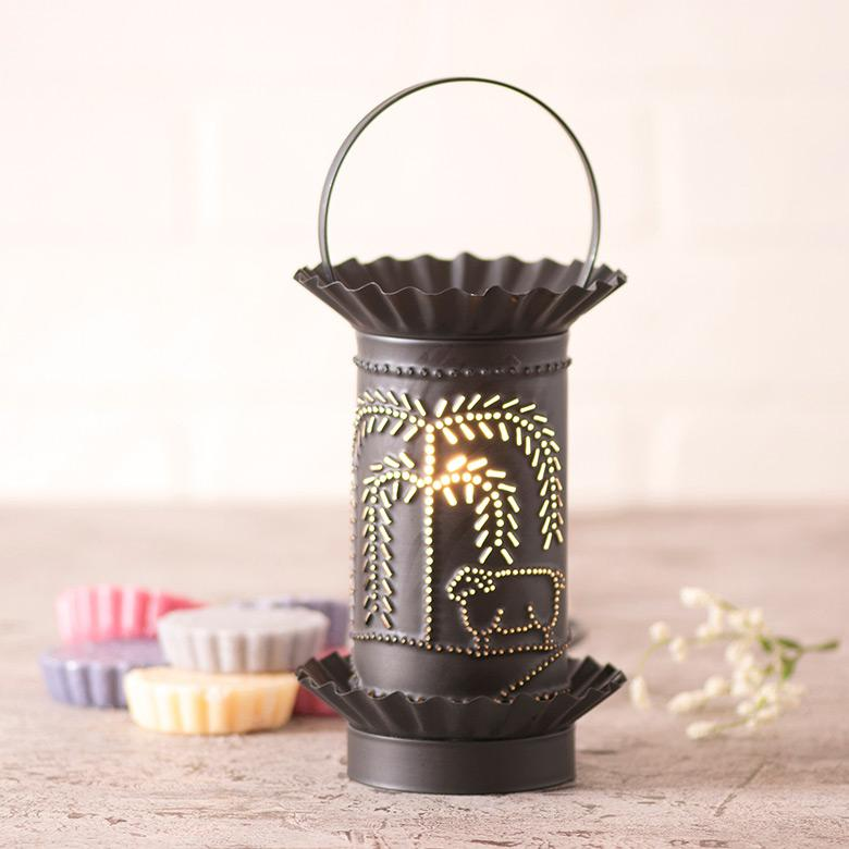 Mini Wax Warmer with Willow and Sheep in Kettle Black Punched Tin Wax Warmer Irvins Tinware