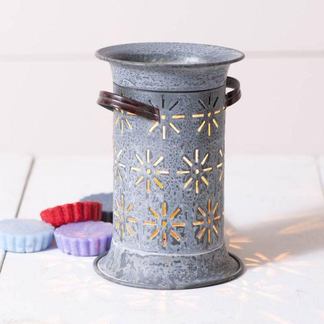 Starburst Wax Melter in Weathered Zinc Wax Warmer Irvins Tinware