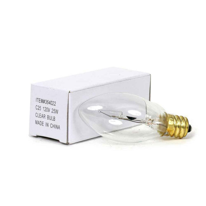 Torpedo Tip Candelabra Replacement Bulb for Wax Warmers Wax Warmer Irvins Tinware 25 Watt Short Clear
