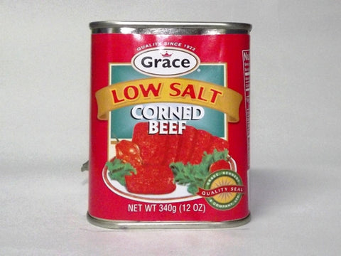 GRACE CORNED BEEF LOW SALT 340G