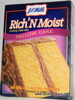 JF MILLS RICH N MOIST YELLOW CAKE MIX 500G