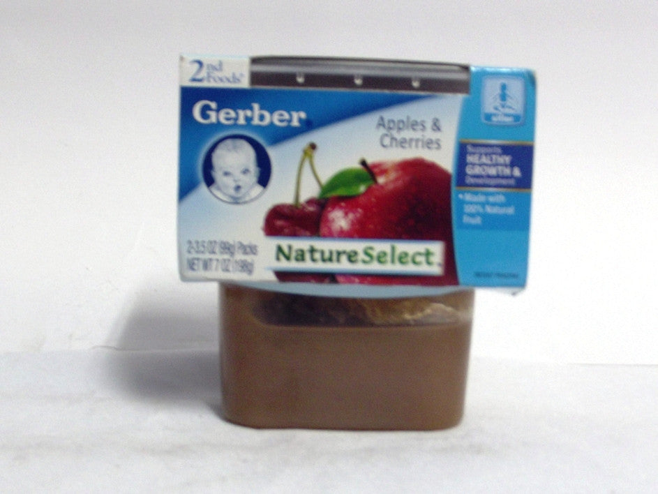 GERBER NATURE SELECT APPLES & CHERRIES 2PK 198G