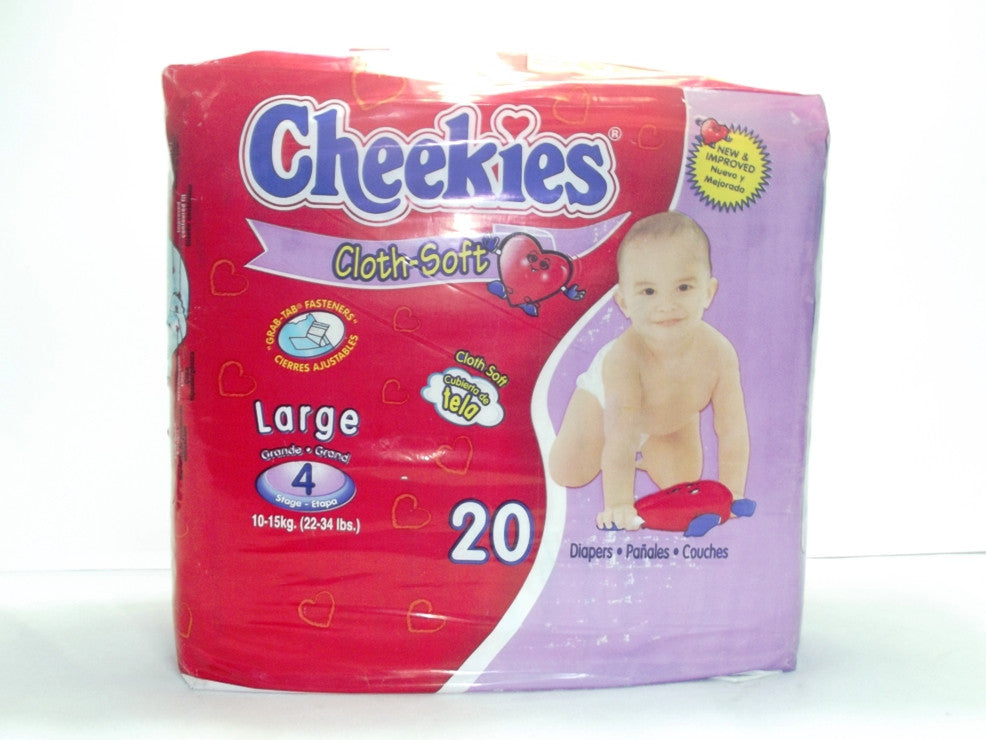 CHEEKIES CLOTH-SOFT DIAPERS LARGE STAGE 4 (22-34LBS) 20`S