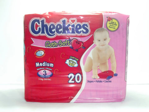 CHEEKIES CLOTH DIAPER MEDIUM 20`S