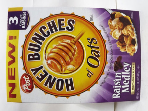 POST HONEY BUNCHES OATS RAISIN MEDLEY CEREAL 368 G