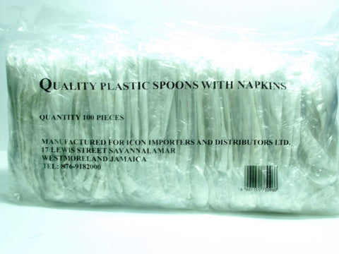 QUALITY PLASTIC SPOONS WITH NAPKINS 100`S
