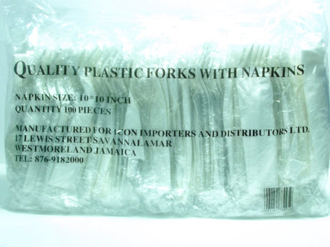 QUALITY PLASTIC FORKS WITH NAPKINS 100`S