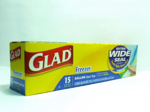 GLAD STORAGE FREEZER ZIPPER GAL BAGS 15`S
