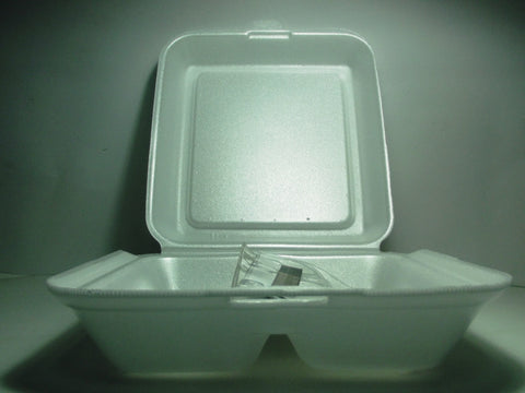 SWEET STYRO FOAM FOOD BOX 2 COMPARTMENT 50