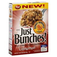POST HONEY BRUNCHES OF OATS CINNAMON BUNCHES CEREAL 411 G